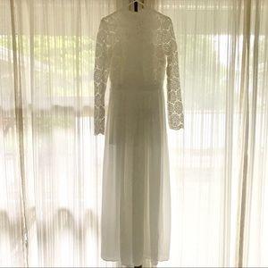 Chicwish White Flower Dance Crochet Maxi Dress